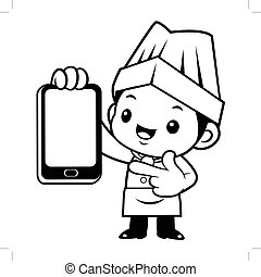 Black And White Cartoon Cook Mascot is instructing holding a Smartphone. Vector illustration isolated on white background.