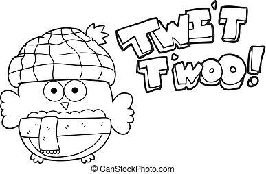 black and white cartoon cute owl singing twit twoo