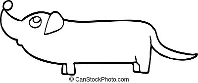 black and white cartoon dachshund