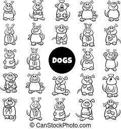 black and white cartoon dog characters emotions big set - ...