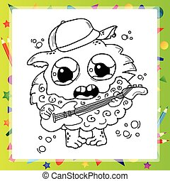 Black and White Cartoon for Coloring Book