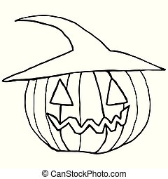 Black and white cartoon, funny muzzle, pumpkin in a hat, isolate
