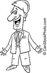 black and white cartoon happy businessman in suit