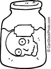 black and white cartoon head in jar