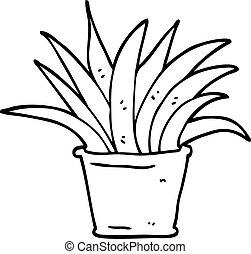 black and white cartoon house plant Black and White Cartoon Flowers