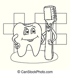 Cartoon Illustration of Happy Tooth Character with Toothbrush Coloring Book