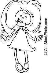 Black and White Cartoon Illustration of Happy Preschool or...