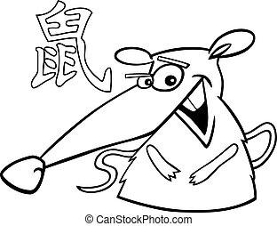 Rat Chinese horoscope sign - Black and white cartoon...