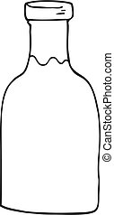 black and white cartoon milk bottle