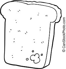 black and white cartoon mouldy bread - freehand drawn black...
