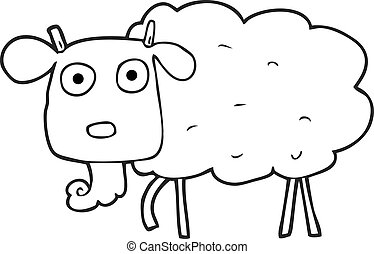 black and white cartoon muddy goat