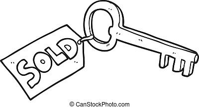 black and white cartoon new house key - freehand drawn black...