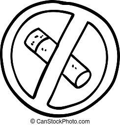 black and white cartoon no smoking sign