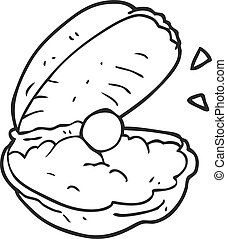 black and white cartoon oyster with pearl - freehand drawn...