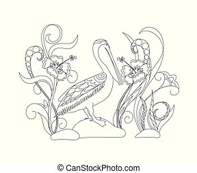 black and white cartoon pelican on the stone for adult coloring