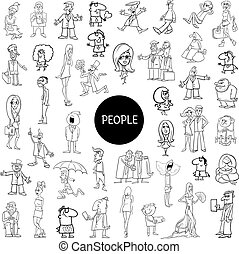 black and white cartoon people set