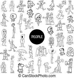 black and white cartoon people set