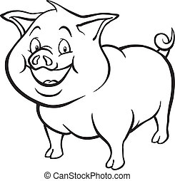 Black and white cartoon pig