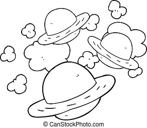 black and white cartoon planets