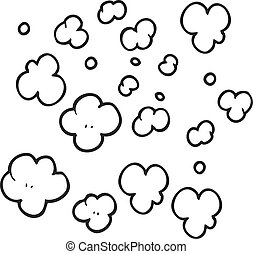 black and white cartoon puff of smoke symbol - freehand...