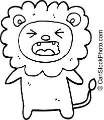 black and white cartoon roaring lion