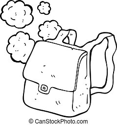 black and white cartoon satchel