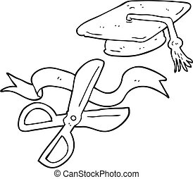 black and white cartoon scissors cutting ribbon at graduation