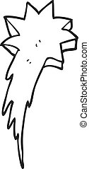 black and white cartoon shooting star symbol