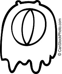 black and white cartoon spooky ghost