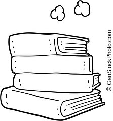 Black And White Cartoon Stack Of Books