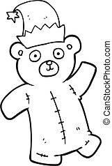 black and white cartoon teddy bear wearing christmas hat