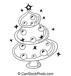 Black and White Cartoon Vector Illustration Christmas Tree with Christmas toys and balls.