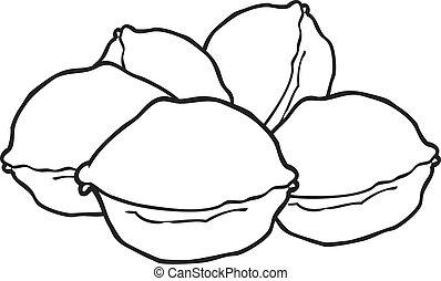 black and white cartoon walnuts