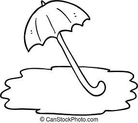 black and white cartoon wet umbrella