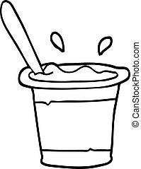 black and white cartoon yogurt