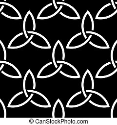 Black and white celtic style seamless pattern - Traditional...