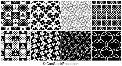 Black and white celtic style seamless patterns set -...