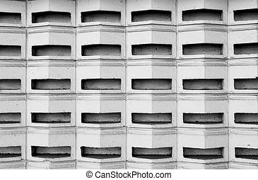 Black and white cement block wall