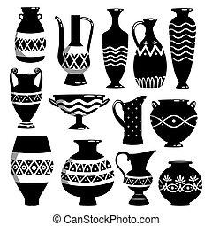 Black and white ceramic bowls