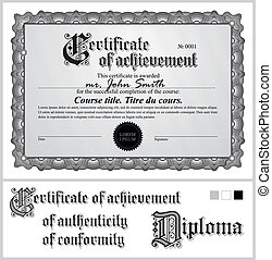 Black and white certificate. Template. Horizontal....