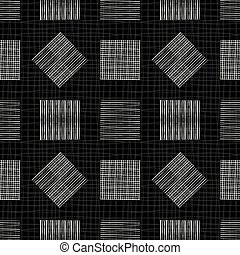 Black and white chalkboard design with doodle squares and diamonds. Geometric seamless vector pattern on textured background. Great for wellness, mens products, stationery, fabric, packaging
