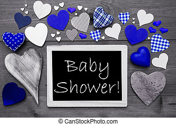Black And White Chalkbord, Many Blue Hearts, Baby Shower
