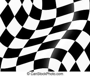 racing flag - Black and white checked racing flag. Vector...
