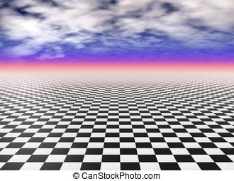 Black and white checker floor tiles - Checkered floor, black...