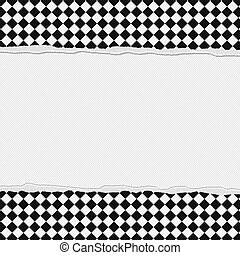 Black and White Checkered Frame with Torn Background