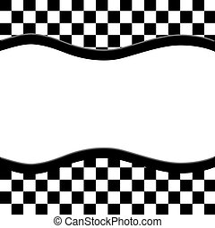 Black and White Checkered Frame with Wave Ribbon Background