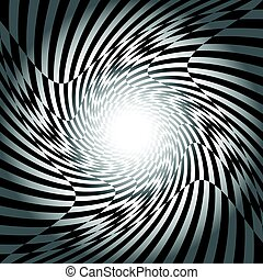 Black and white checkered spiral pattern design for abstract background concept