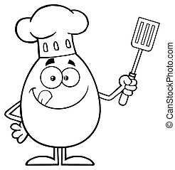 Black And White Chef Egg Cartoon Mascot Character Licking...
