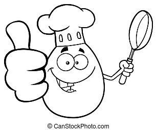 Black And White Chef Egg Cartoon Mascot Character Showing Thumbs Up And Holding A Frying Pan Vector Illustration Isolated On White Background