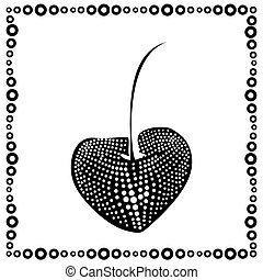 black and white cherry label with black and white frame